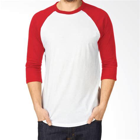 jual kaos polos cotton jual kaosyes kaos polos t shirt raglan lengan 3 4 putih