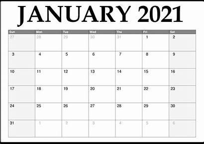 Calendar Monthly 2021 Printable January Template Blank