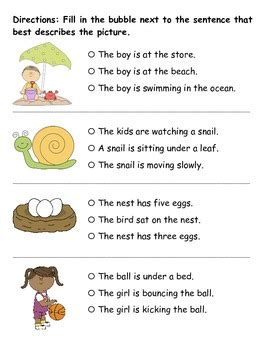 reading comprehension picture sentence match