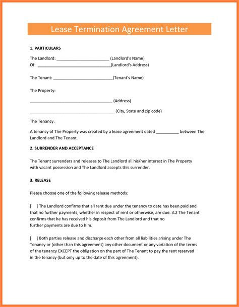 letter  terminate rental agreement  landlord
