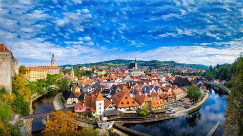 krumlov city   czech republic panorama landscape hd