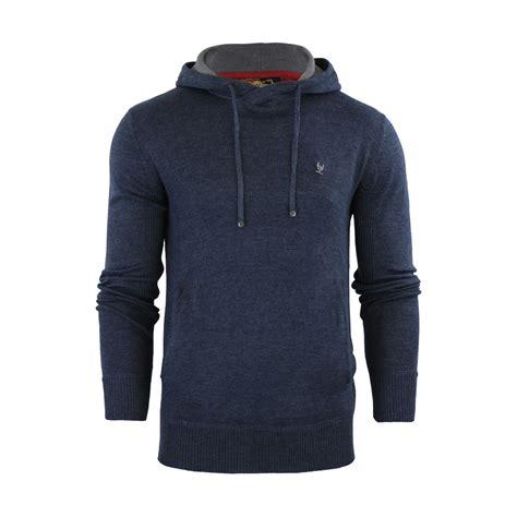 mens hoodie jumper ringspun junip hooded knitted sweater