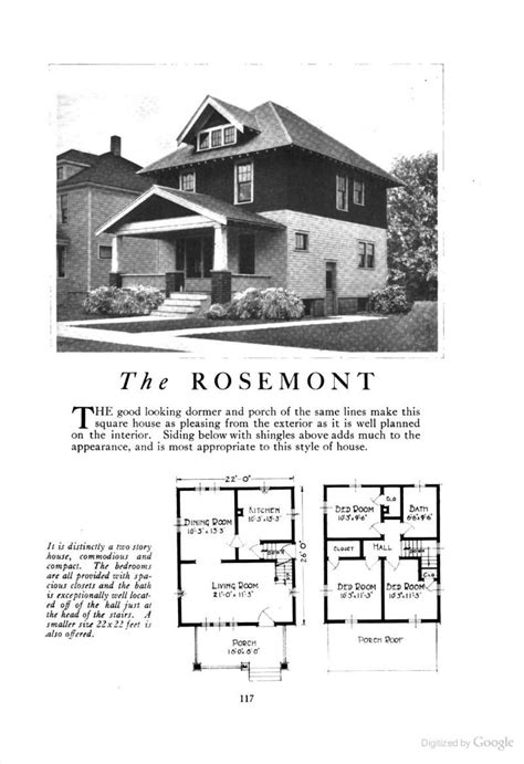 rosemont  american foursquare kit househouse plan homes  character lewis