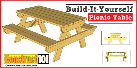 traditional picnic table plans   construct