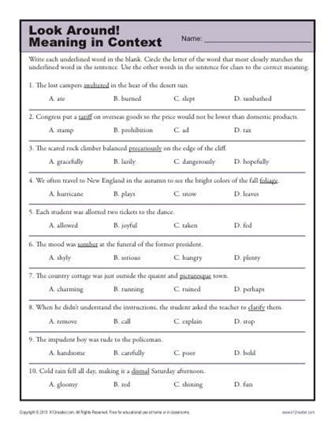 look around meaning in context middle school worksheets