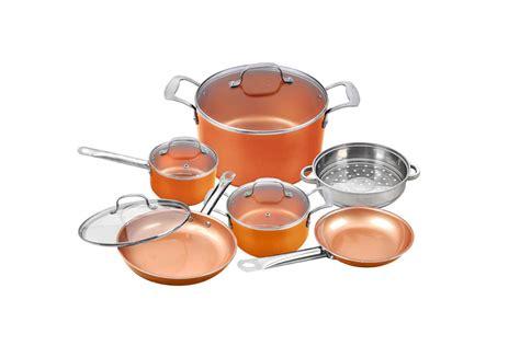 pc copper cookware set  induction button