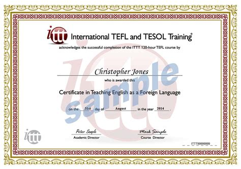Tefl Certificate Template by 120 Hour Tefl Certificate Sle