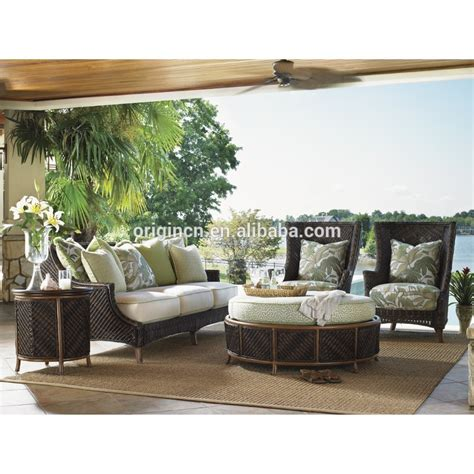 tropical island design wicker 3 seat sofa and storage