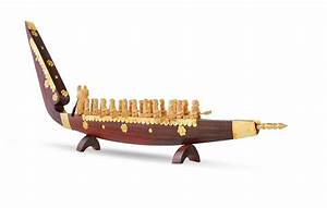 Wooden Houseboat and Snake Boat Miniature Model - Kerala