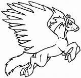 Coloring Horse Pegasus Pages Jumping Flying Preschool Kindergarten Animals Preschoolcrafts sketch template