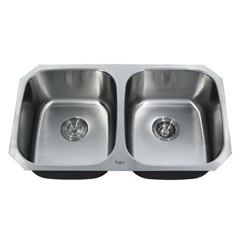 kraus kbu undermount double basin kitchen sink stainless steel lowes canada