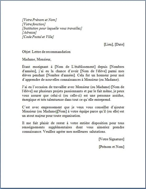offre emploi chef de cuisine lettre de recommandation d un professeur pour étudiant lettre de recommandation