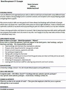 Format For Curriculum Vitae Sample Hotel Receptionist Cv Example Icover Org Uk