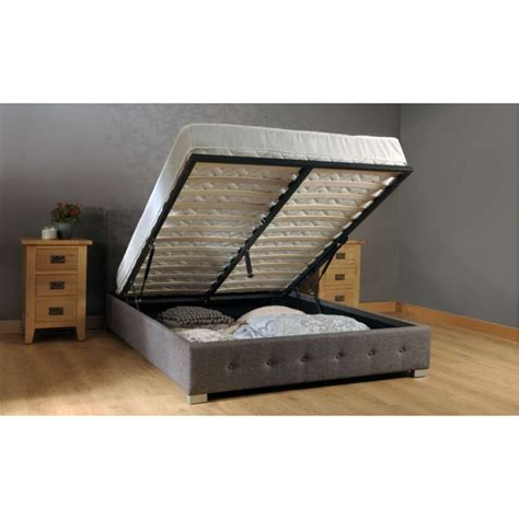 King Platform Bed With Fabric Headboard by Fabric Ottoman Storage Bed