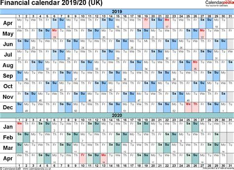 financial calendars uk format