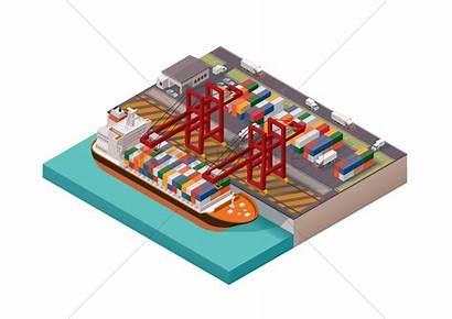 Port Vector Cargo Isometric Illustration Stockunlimited Graphic