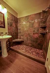 River rock shower floor bathroom remodel for Fall in shower floor