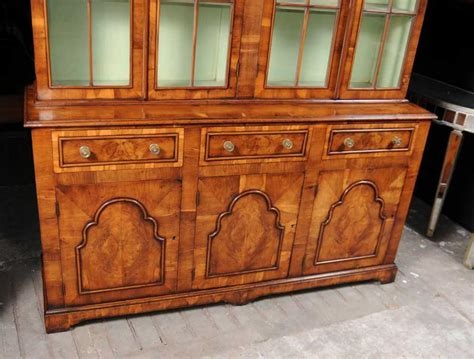 Furniture : Georgian Yew Wood Bookcase Cabinet Bookcases Furniture