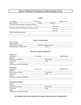 printable minor medical treatment authorization legal