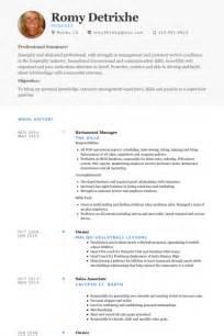restaurant assistant manager cv exle restaurant exemple de cv base de donn 233 es des cv de visualcv