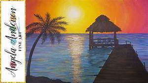 Easy Sunset Ocean Seascape Acrylic Painting Tutorial ...