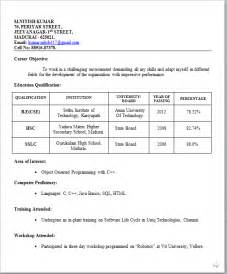 Resume Creation For Freshers by Resume Sle For Freshers Student Http Www