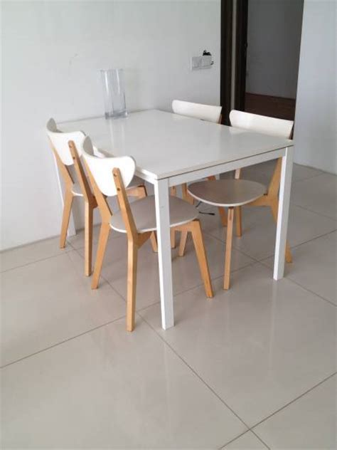 chic white dining table with 4 chairs for sale
