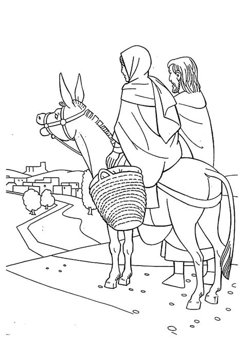 joseph pulling mary   donkey flight  egypt coloring pages  place  color