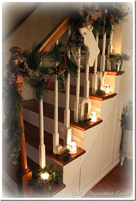 festive christmas banister decorations ideas