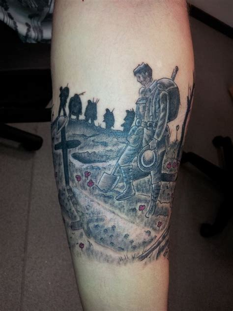 war sleeve memorial soldier remembrance forearm tattoo silhouette cross trenches tat ideas