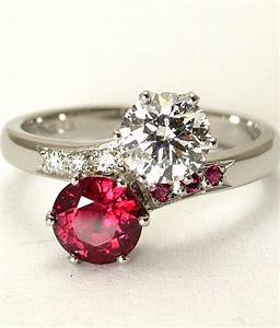2 stone ruby diamond ring two stone engagement ring for Wedding rings with rubies and diamonds