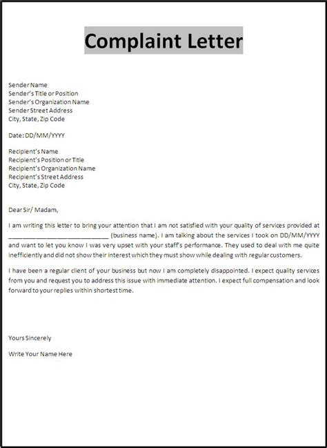 complaint letter template  word templates