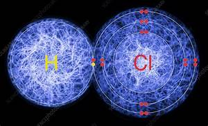 Hydrogen Chloride  Atomic Structure - Stock Image