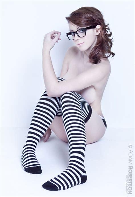 Cute Girl Glasses Striped Socks Win Porn Pic Eporner
