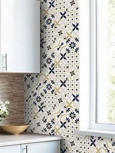 Papier Adhésif Carreaux De Ciment : papier peint carreaux ciment papermint ~ Premium-room.com Idées de Décoration