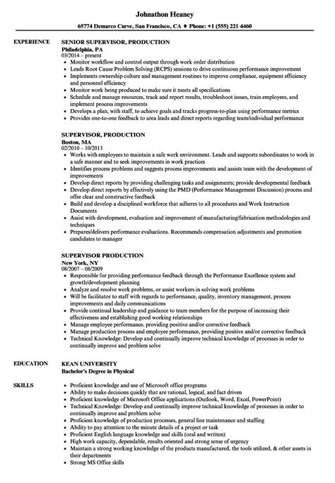 Production Supervisor Resume by Supervisor Production Resume Sles Velvet