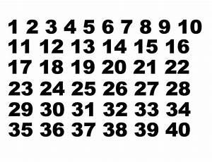 1 - 40 Number Sets Vinyl Decals Set of 40 Numbers
