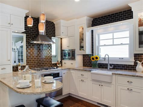 brown and white kitchen designs tile for small kitchens pictures ideas tips from hgtv 7962