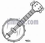 Banjo Drawing Cartoon Coloring Drawings Sketch Timtim Bw Dance Template sketch template