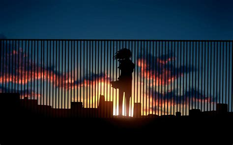 Anime Digital Wallpaper - sunset digital fence silhouette anime
