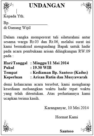 surat undangan resmi  bahasa sunda contoh isi undangan
