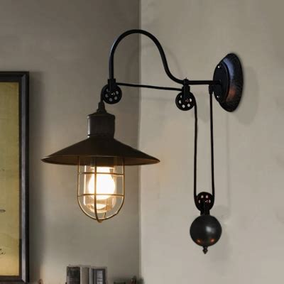 farmhouse wall sconces industrial style adjustable 1 light wall sconce in black