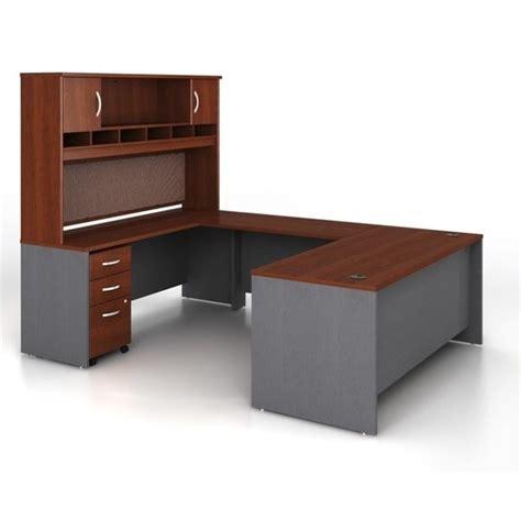 bush hansen cherry desk bush business series c 5 piece u shape computer desk in