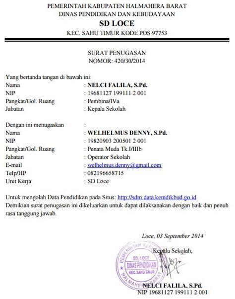 Contoh Surat Tugas Kedinasan by Contoh Surat Tugas Operator Sekolah Kelola Website Sd
