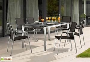 Chaise Salon De Jardin : salon de jardin inox avec table 160x90cm et 6 chaises porto sieger ~ Teatrodelosmanantiales.com Idées de Décoration