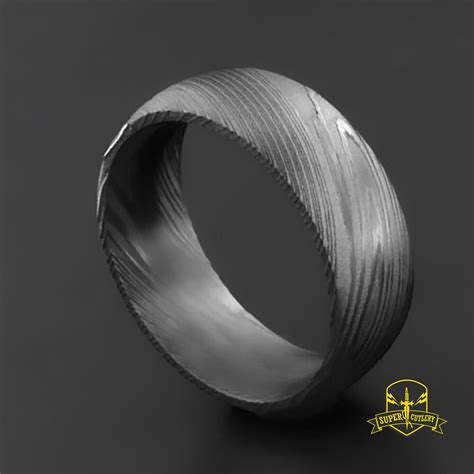 handmade damascus steel wedding band for men damascus