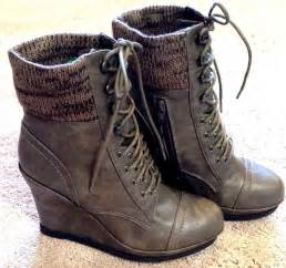 womens gray boots size 11 mossimo womens size 11 gray lace up wedge ankle bootie high heel platform boot