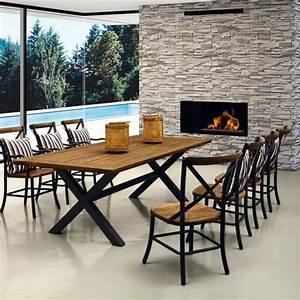 Table A Manger Jardin : salle manger 8 couverts teck et aluminium coussins ray s largo achat vente salon de ~ Melissatoandfro.com Idées de Décoration
