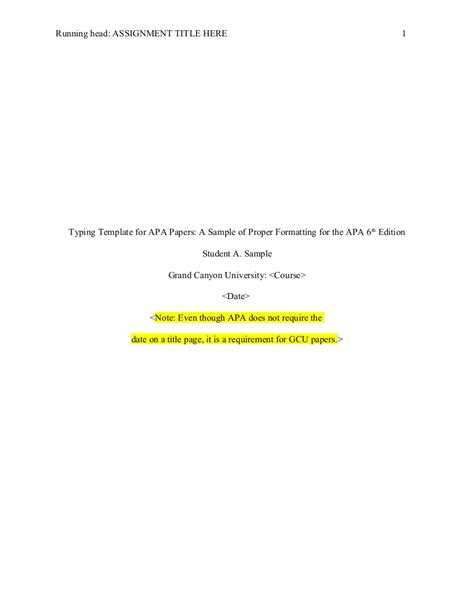 Apa Format Sixth Edition Template Apa Format Title Apa 6th Edition Template Without Abstract