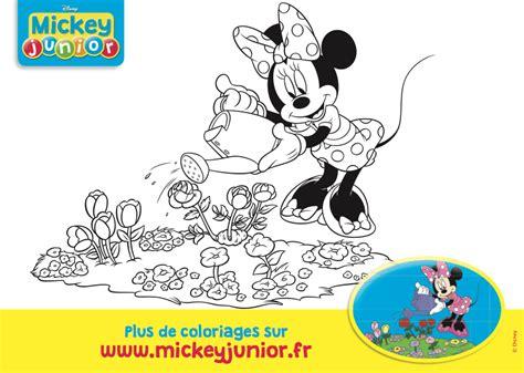 la cuisine de minnie coloriage minnie arrose ses fleurs mickey junior